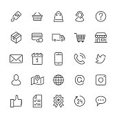 Online shopping flat line icons. E-commerce business, contacts, support, social networks, shop basket, sale, delivery illustrations. Thin signs for web store. Pixel perfect 48x48. Editable Strokes.