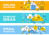 Online shopping & startup ideas concept on color backgrounds with title. Vector set of banner illustrations with business elements. Thin line art flat style design for web, site, banner, business pres