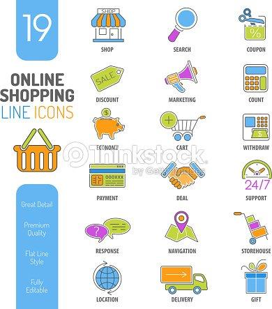 Compras En Línea Fina Web Icono Conjunto De Líneas De Color Arte ...