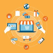 Online shopping, e-payment, retail and delivery concept, laptop with shopping cart at center