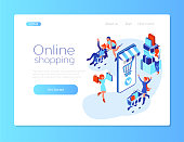 Online shopping. Web page design template. People around intertnet store. Mobile shop. Happy me and women with shoppig cart. Isometric flat 3d illustration for web page or web banner