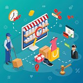 Online shopping with desktop PC. Concept e-commerce poster with delivery service and customer support chat service. 3D isometric vector illustration.