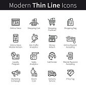 Online store business and shopping support set. Mobile storefront marketing, payments and purchase. thin black line art icons. Linear style illustrations isolated on white.