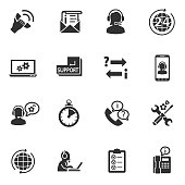Informing and answers on questions. Monochrome icons.