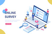 Online survey concept with characters. Can use for web banner, infographics, hero images. Flat isometric vector illustration isolated on white background.