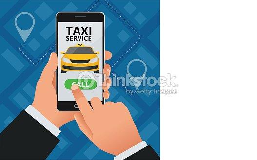 Concept De Taxi Service En Ligne Lhomme Commande Un A Son Telephone Cellulaire Application Sur Lecran Modele Carte Visite