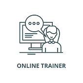 Online trainer vector line icon, outline concept, linear sign