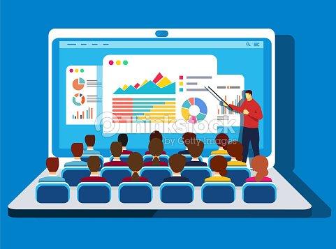 Online training : stock vector