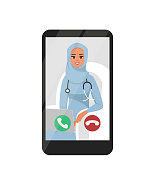 Online Video Conferencing With Happy Female Arabian Doctor On Smartphone. Vector illustration isolated from white background