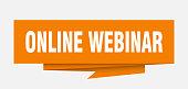 online webinar sign. online webinar paper origami speech bubble. online webinar tag. online webinar banner