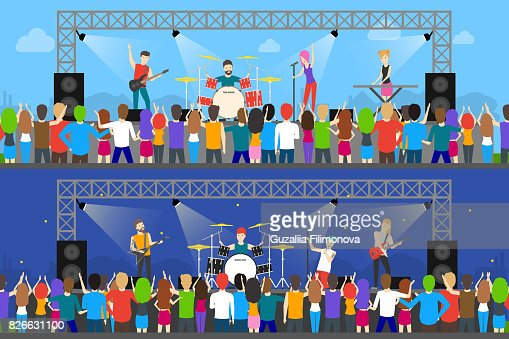 Open air concerts set. : stock vector