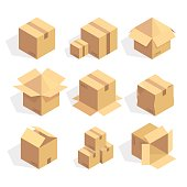 Open and closed delivery cardboard icons set isolated vector illustration.