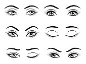 Hand drawn open and closed female eyes set. Vector illustration