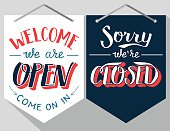 Welcome we are pen and sorry we are closed. Hand lettered signs