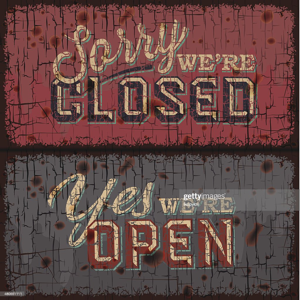 Señal abierta y cerrada-Información de la tienda minorista : Arte vectorial