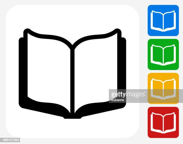 Open Book Icon Flat Graphic Design
