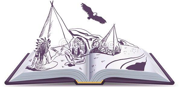 livre ouvert indiens vous asseoir au wigwam sur des pages d un livre ouvert clipart vectoriel. Black Bedroom Furniture Sets. Home Design Ideas