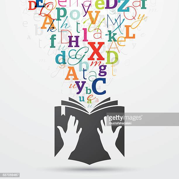 Open book with colourful letters coming out