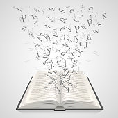 Open book with flying letters on a white background, education art . Vector illustration