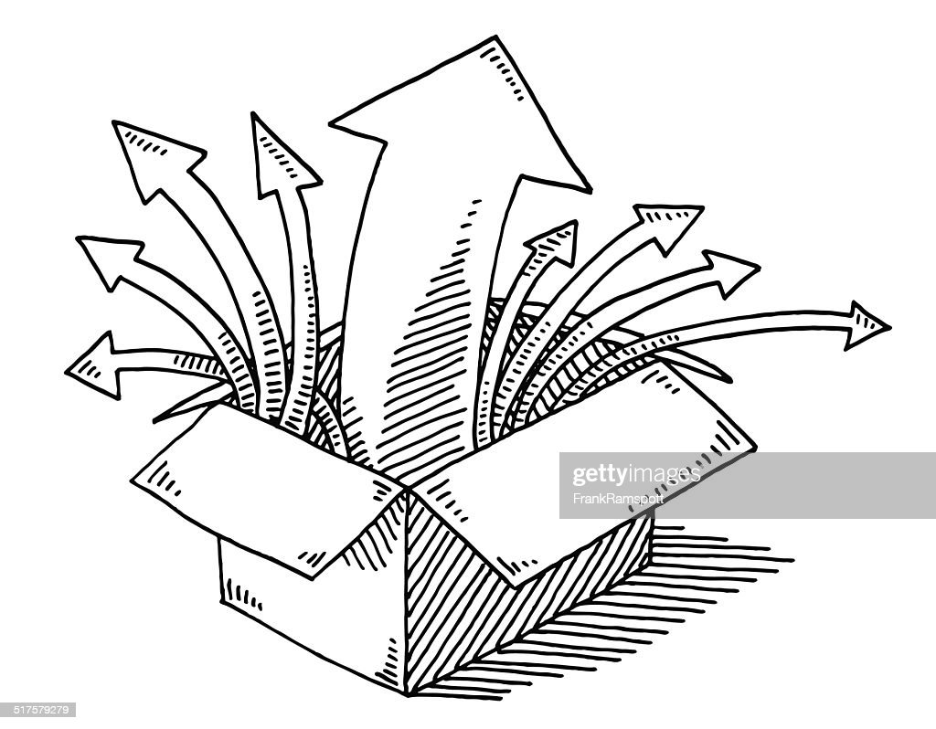 open box clipart. open box arrows drawing vector art clipart