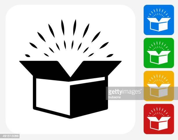 Icône plat boîte ouverte de conception graphique