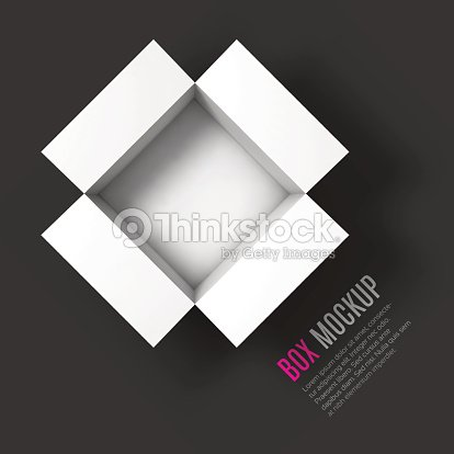 Open Box Mockup Template Top View Vector Art