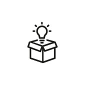 Open box with light bulb line icon. Idea, creativity, solution. Startup concept. Vector illustration can be used for topics like business, innovation, energy
