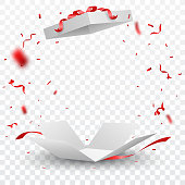 Vector Illustration of Open box with red confetti , isolated on transparent background  eps10