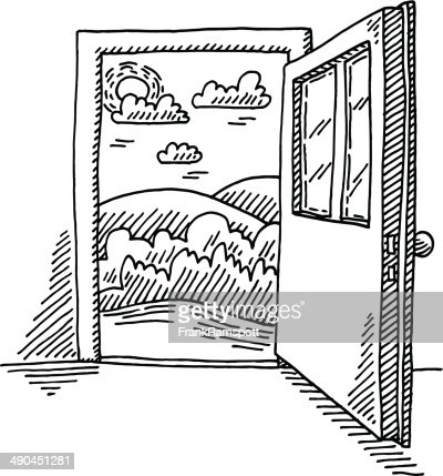 Open Closet Door Drawing contemporary half open door drawing inside decorating