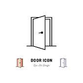 Open Door icon, Vector thin line art symbol