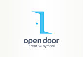 Open door, in and out creative symbol concept. Enter, exit, real estate agency abstract business pictogram. Home furniture, room interior, doorway icon. Corporate identity sign, company graphic design
