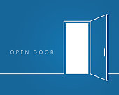 Open door line concept. Blue room logo vector background 10 eps
