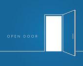 Open door line concept. Blue room logo vector background 10 eps