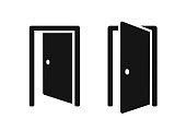 Open doors push or pull simple black icons vector illustration on white background