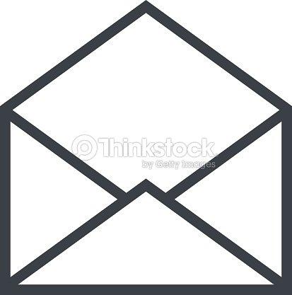 Open Envelope Outline Icon Modern Minimal Flat Design ...