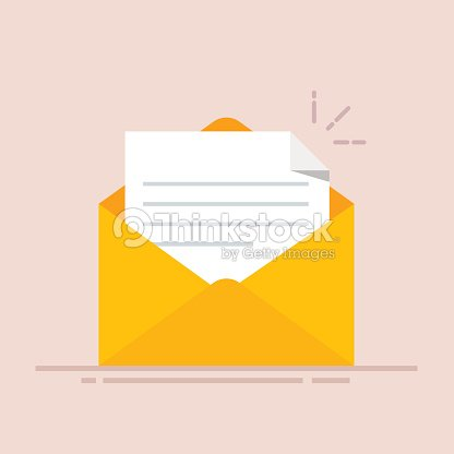 open envelope with a document new letter sending correspondence flat illustration isolated on