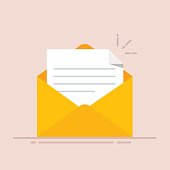 Open envelope with a document. New letter. Sending correspondence. Flat illustration isolated on color background