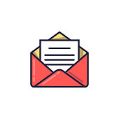 Open envelope with the document. Email icon. Vector illustration in a linear style
