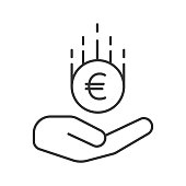 Open hand with euro linear vector icon. Thin line