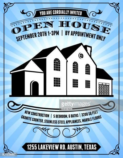 Open-House-Poster auf blauem Hintergrund