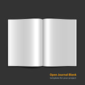 Open magazine double page spread with blank pages on black background. Vector journal EPS10
