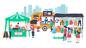 People selling and shopping at the market fair or walking street consisting of burger food truck , clothes shop and crepe stall, all is colorful doodle cartoon flat design, illustration, vector, on wh