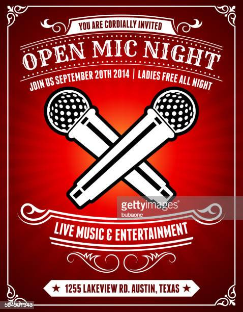 Open Mic Night on Red Poster Background