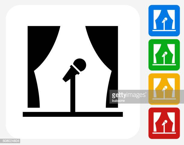 Open Microphone Icon Flat Graphic Design