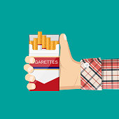 Open pack of cigarettes in hand man. Bad habits. Smoker offers cigarette. Template banner about the dangers of smoking. Vector illustration in flat style