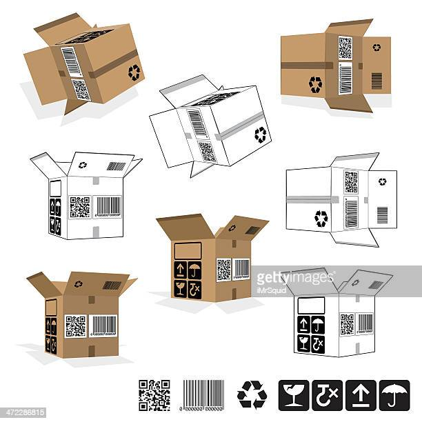 Open Packaging Boxes - Rotated set
