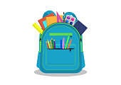 School backpack with stationery on white background. Vector illustration.