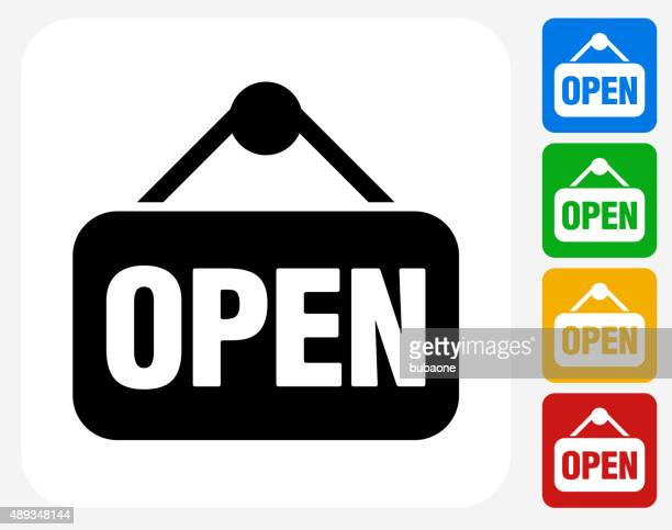 Open Sign Icon Flat Graphic Design