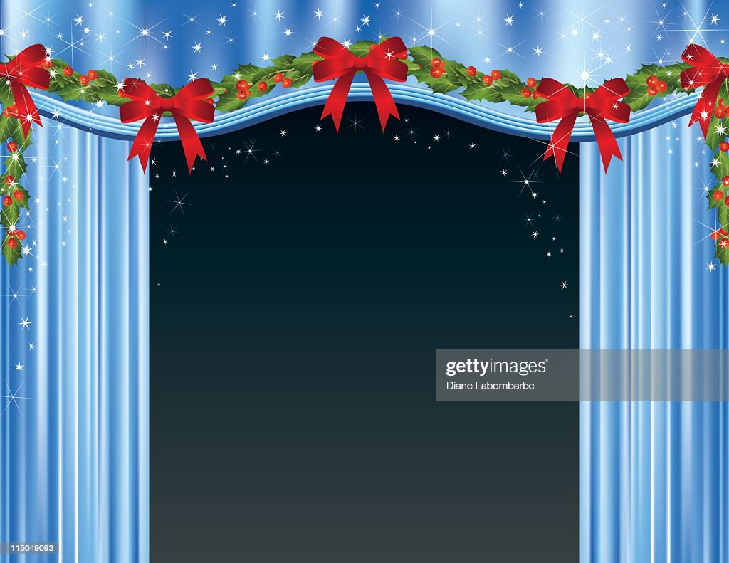 Open stage curtains - Open Stage Curtains Decorated For Christmas Vector Art