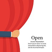 Open the curtain. Man hand open stage red curtain. Place for text template. Vector illustration flat style. Isolated on white background. Banner for design. Drape in presenting theater. Actor scene.